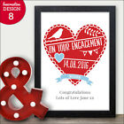 On Your Engagement Love Heart Personalised Engagement Gift Couples Keepsake