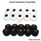 Anchor Balls Crochet Cotton Embroidery Thread Balls Solid Black White Size no.8