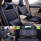 Black/White PU Leather 5-Seats Auto Car Seat Cover Front + Rear Set --S / M / L