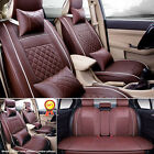Coffee S M L PU Leather 5-Seats Auto Car Seat Cover Front + Rear Set