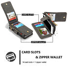 Black Removable Leather 14 Cards Zipper Wallet Case For iPhone SE 5/6/6S 7 Plus