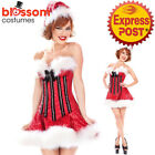 K293 Ladies Santa Claus Party Christmas Xmas Fancy Dress Up Costume Outfit + Hat