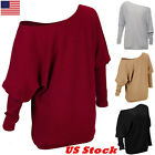 US Oversize Lady Off Shoulder Batwing Sleeve Knit Sweater Tops Pullover Outwear