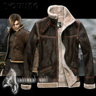 NEW RESIDENT EVIL 4 LEON KENNEDY'S PU Faux LEATHER FUR JACKET
