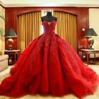 Red Ball gown wedding dresses 2018 Pleated Lace Sweetheart Bridal wedding gown