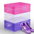 Set Of 3 Plastic Shoe Boot Box Stackable Foldable Storage Home Organizer Clear