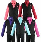 Внешний вид - Toddler Boys 4 Piece Suit Set, Solid Black Vest and Pants w/ Colored Shirt 2T-14