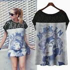 Color Block Lady Face Short Sleeve Lace Women Shirt Blouse Tops Casual Fashion