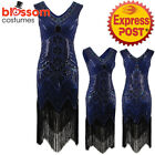 K135 Blue 1920 Flapper Dress Great Gatsby Charleston 20s Abbey Sequins Costume