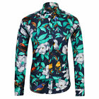 Luxury Mens Floral Shirt Casual Slim Fitted Long Sleeve Paisley Printed Shirt