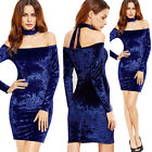 Womens Sexy Off Shoulder Fall Winter Velvet Party Club Bodycon Mini Dress 4557
