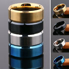Fashion Women Men's 8mm Stainless Steel Ring Silver Black Gold Blue Size 6-12