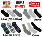 Men Women 9-11 10-13 Crew Ankle Low Cut Fashion Socks Black White Gray Unisex