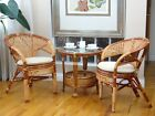 Pelangi Rattan Wicker Lounge Set of 2 Chairs w/Cushion and Round Coffee Table