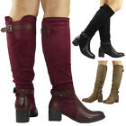 NEW WOMENS LADIES KNEE HIGH MID CALF BOOTS BUCKLE LONG LOW MID HEEL SHOES SIZE
