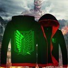 New Anime Attack on Titan Unisex Luminous Sweat shirt Casual Hoodie Coat Clothes