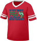 If My Wife Were A Fish I'd Throw Her Back Married Bass Men's V-Neck Ringer Tee
