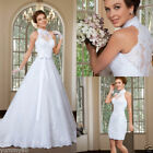 Detachable Train Halter Neck Wedding Dresses Short Sheath Bridal Gowns with Bow