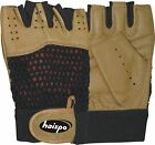 WEIGHT LIFTING GLOVES,FITNESS WORKOUT, BROWN LEATHER  WITH BLACK KNITTED BACK