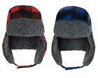 Mens Brave Soul Winter Trapper Hat Red or Blue Check Faux Fur Lined One size