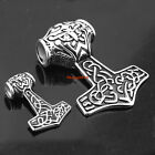 New High Quality Silver Stainless Steel Quake Thors Hammer Pendant Mens Necklace