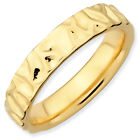 Textured Ring Sterling Silver Gold Tone 4.25mm Sz 5-10 Stackable Expressions