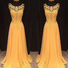 Women Lace Sleeveless Hollow Yellow Gown Long Dress Formal Party Cocktail Prom