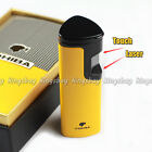 NEW COHIBA Yellow Metal Laser Touch Induction 3 Torch Jet Flame Cigar Lighter