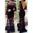 Fashion Women Long Sleeve Lace Floral Mini Dress Party Cocktail Evening Dress