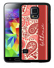 PERSONALIZED RUBBER CASE FOR SAMSUNG NOTE 3 4 5 PINK CREAM PAISLEY