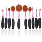 Professional 10 Piece Oval Face Makeup Brush Set with Soft Toothbrush Shaped 62B