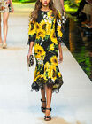 High End Sunflowers Printed Three Dmensional Flower Lace Beaded Dress LU0