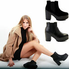 LADIES WOMENS PLATFORM CHELSEA LOW MID HIGH BLOCK HEEL ANKLE BOOTS SHOES SIZE