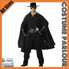 New Mens Zorro Mexican Bandit Musketeer Super Hero Fancy Dress Costume All Sizes