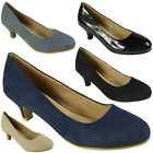 Womens Ladies Faux Suede Mid Low Kitten Heel Casual Work Posh Court Shoes Size