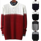 Mens New Fashion Twisted Round Crewneck Knit Sweater Long Sleeve Top E041 XS/S/M