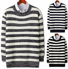 Mens New Fashion Dandy Stylish Stripe Round Crewneck Knit Sweater Top E009 M/L
