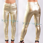 Sexy New Womens Shiny Gold Leaf Elastic Dress Pants Clubwear Cocktail Hot