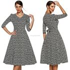 Women cotton Swing Vintage Retro Housewife Rockabilly Evening Party casual Dress