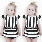 Striped Baby Girl Infant Casual T-shirt+Pants Shorts 2pcs Outfits Clothes Set