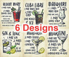 Metal Plaque Sign Retro Vintage COCKTAILS RECIPES MARY GIN MARGARITA MARTINI
