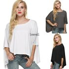 Fashion Women Casual O-neck Batwing Long Sleeve Solid Loose T-shirt Top LM