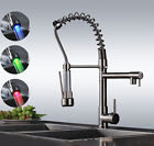 Single Handle Brushed Nickel Commercial Pull Down Kitchen Sink Faucet with Spray