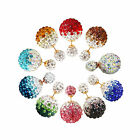 Women's New Popular Rhinestone Two-Sided Double Beads Ear Studs Bubble EarringMO