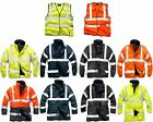 NEW MENS WORK HI VIS  LINED PADDED WINTER BOMBER 3/4 JACKET S-XXXL