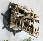 """10.5""""L Pacific Horned Dragon Skull Wall Trophy Figurine Resin Plaque Mount"""