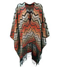 Casamia Women Poncho with Zigzag Pattern and Fringing in One Size