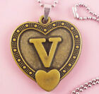 P106 Acrylic pendant iron or Stainless Steel chain U pick Letter V love heart