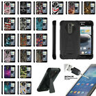 For LG K7   Treasure Dual Layer Shell Advance Kickstand Case + Tempered Glass