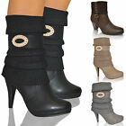 Women Ladies Mid Calf Boots Winter Warm Knitted Socks Biker Ankle Shoes Sizes UK